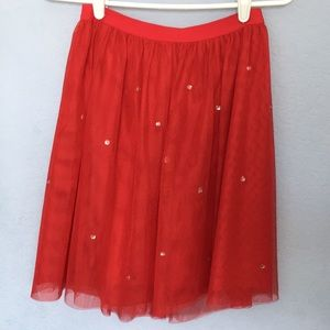 Jeweled Red Tulle Skirt